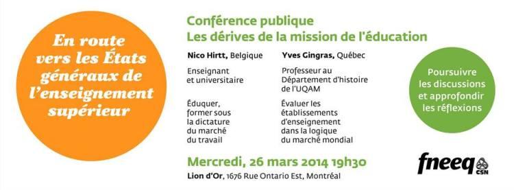 conférence publique sur les rédives de la mission de l'éducation