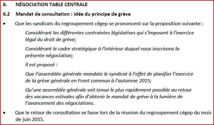proposition négo vote mandat de grève